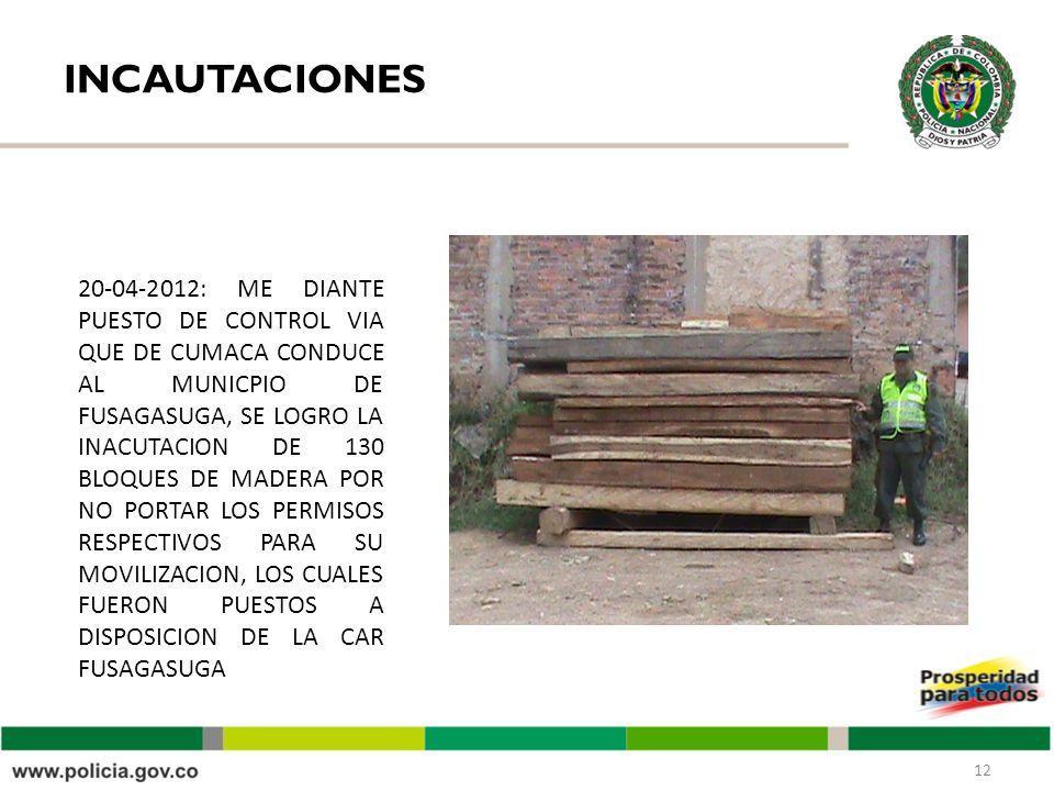 INCAUTACIONES 12 20-04-2012: ME DIANTE PUESTO DE CONTROL VIA QUE DE CUMACA CONDUCE AL MUNICPIO DE FUSAGASUGA, SE LOGRO LA INACUTACION DE 130 BLOQUES DE MADERA POR NO PORTAR LOS PERMISOS RESPECTIVOS PARA SU MOVILIZACION, LOS CUALES FUERON PUESTOS A DISPOSICION DE LA CAR FUSAGASUGA