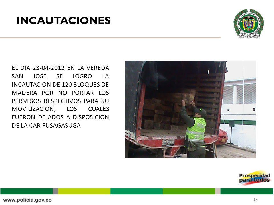 INCAUTACIONES 13 EL DIA 23-04-2012 EN LA VEREDA SAN JOSE SE LOGRO LA INCAUTACION DE 120 BLOQUES DE MADERA POR NO PORTAR LOS PERMISOS RESPECTIVOS PARA SU MOVILIZACION, LOS CUALES FUERON DEJADOS A DISPOSICION DE LA CAR FUSAGASUGA