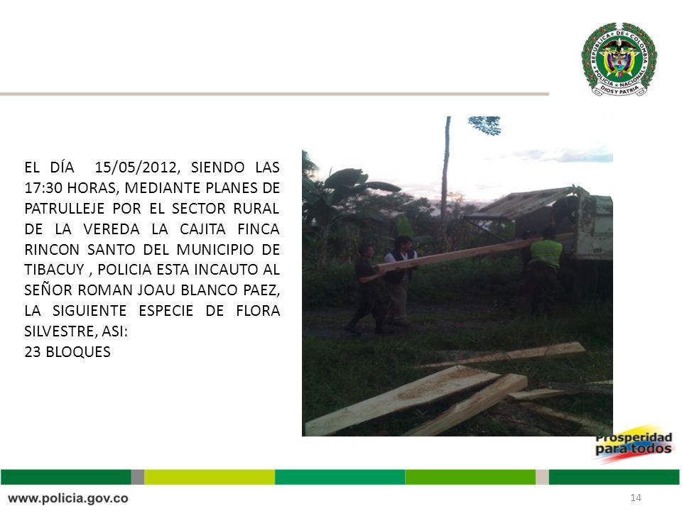 14 EL DÍA 15/05/2012, SIENDO LAS 17:30 HORAS, MEDIANTE PLANES DE PATRULLEJE POR EL SECTOR RURAL DE LA VEREDA LA CAJITA FINCA RINCON SANTO DEL MUNICIPIO DE TIBACUY, POLICIA ESTA INCAUTO AL SEÑOR ROMAN JOAU BLANCO PAEZ, LA SIGUIENTE ESPECIE DE FLORA SILVESTRE, ASI: 23 BLOQUES