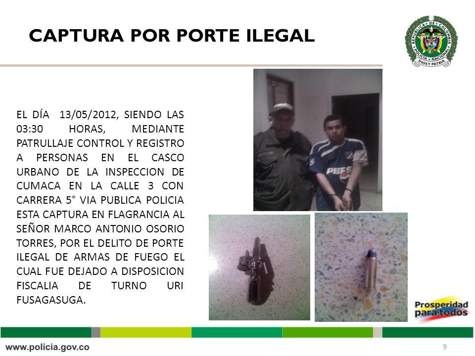 CAPTURA POR PORTE ILEGAL 9 EL DÍA 13/05/2012, SIENDO LAS 03:30 HORAS, MEDIANTE PATRULLAJE CONTROL Y REGISTRO A PERSONAS EN EL CASCO URBANO DE LA INSPECCION DE CUMACA EN LA CALLE 3 CON CARRERA 5° VIA PUBLICA POLICIA ESTA CAPTURA EN FLAGRANCIA AL SEÑOR MARCO ANTONIO OSORIO TORRES, POR EL DELITO DE PORTE ILEGAL DE ARMAS DE FUEGO EL CUAL FUE DEJADO A DISPOSICION FISCALIA DE TURNO URI FUSAGASUGA.