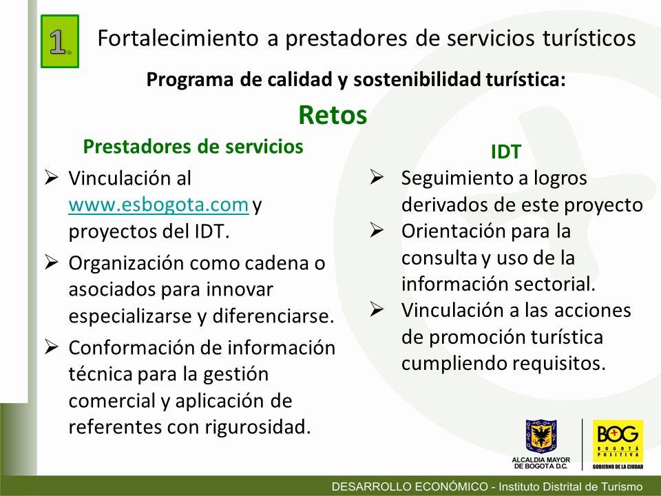 Retos Prestadores de servicios Vinculación al www.esbogota.com y proyectos del IDT. www.esbogota.com Organización como cadena o asociados para innovar