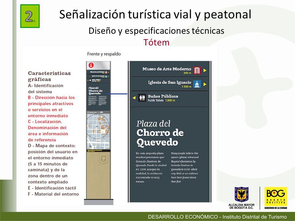 Diseño y especificaciones técnicas Tótem Señalización turística vial y peatonal
