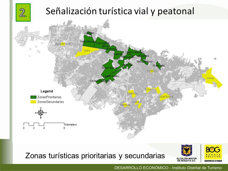 Zonas turísticas prioritarias y secundarias Señalización turística vial y peatonal