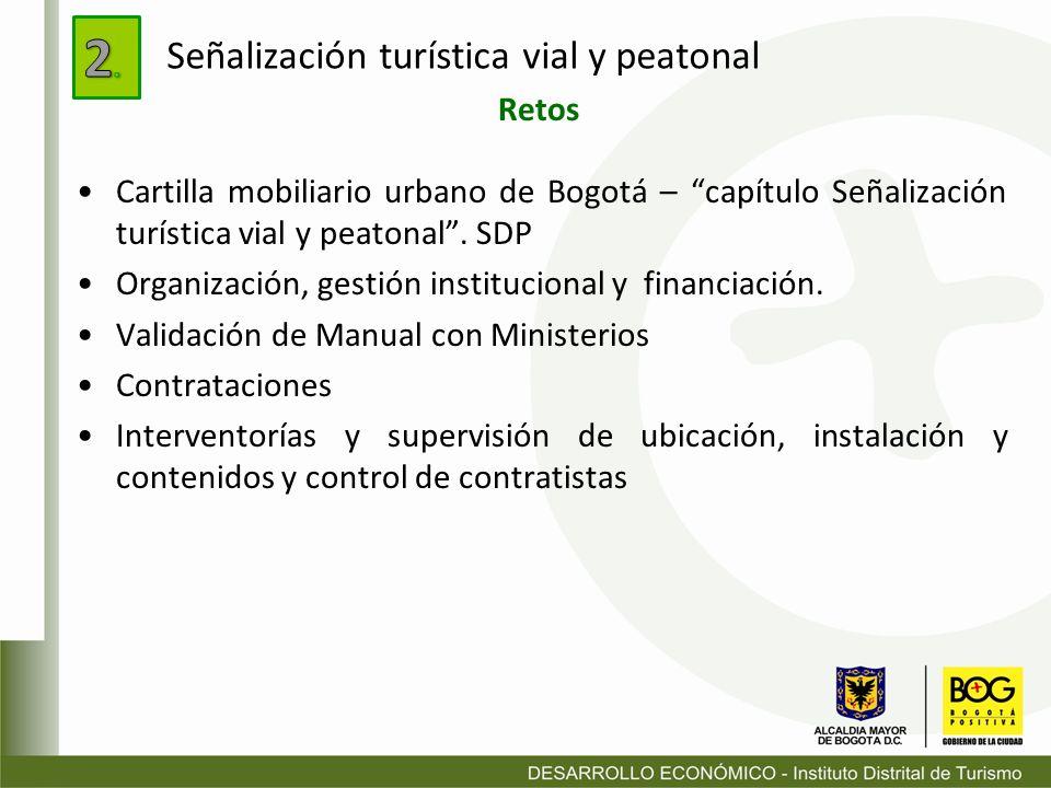 Cartilla mobiliario urbano de Bogotá – capítulo Señalización turística vial y peatonal. SDP Organización, gestión institucional y financiación. Valida