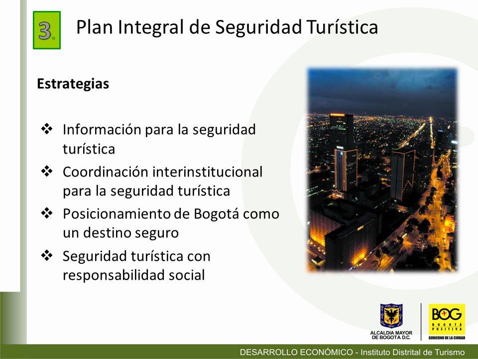 Estrategias Información para la seguridad turística Coordinación interinstitucional para la seguridad turística Posicionamiento de Bogotá como un dest