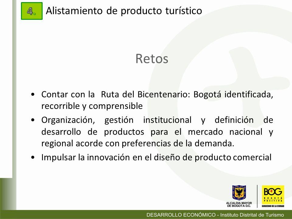 Retos Contar con la Ruta del Bicentenario: Bogotá identificada, recorrible y comprensible Organización, gestión institucional y definición de desarrol