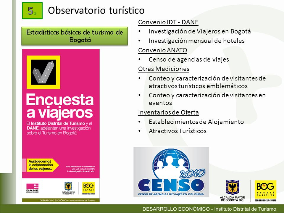 Convenio IDT - DANE Investigación de Viajeros en Bogotá Investigación mensual de hoteles Convenio ANATO Censo de agencias de viajes Otras Mediciones C