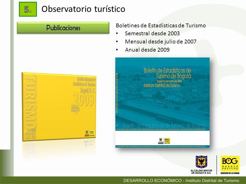 Boletines de Estadísticas de Turismo Semestral desde 2003 Mensual desde julio de 2007 Anual desde 2009 Observatorio turístico