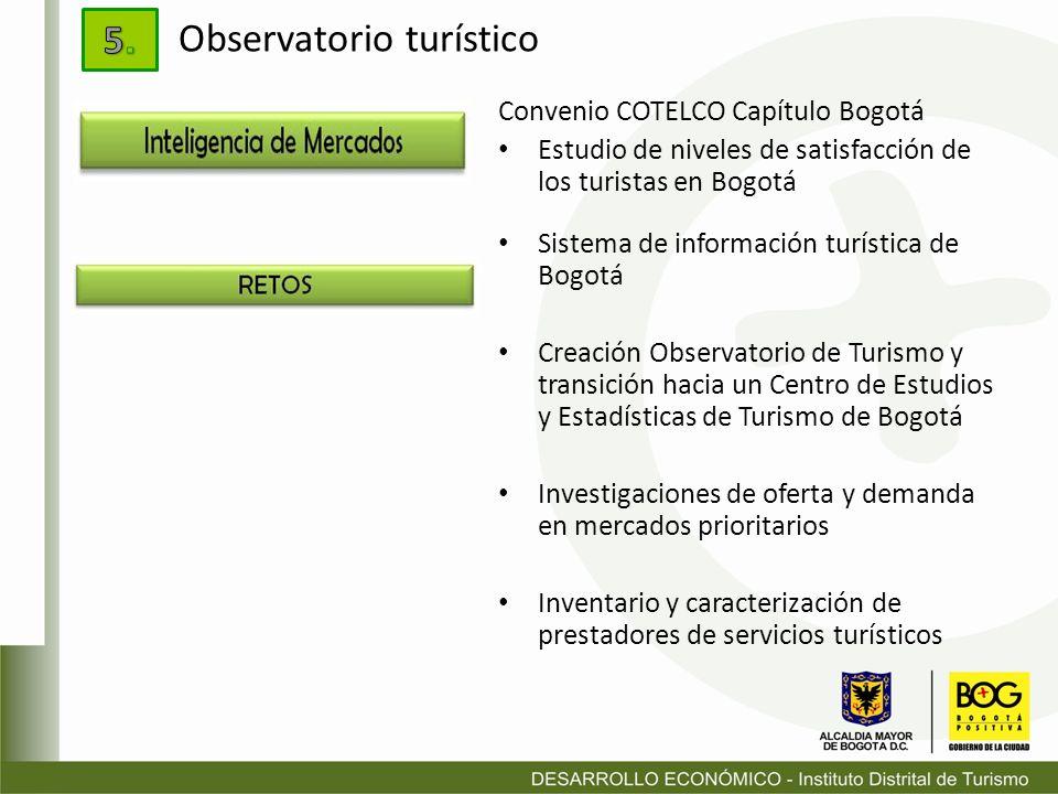 Convenio COTELCO Capítulo Bogotá Estudio de niveles de satisfacción de los turistas en Bogotá Sistema de información turística de Bogotá Creación Obse