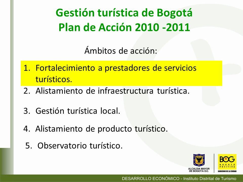 1.Fortalecimiento a prestadores de servicios turísticos. Gestión turística de Bogotá Plan de Acción 2010 -2011 5. Observatorio turístico. Ámbitos de a