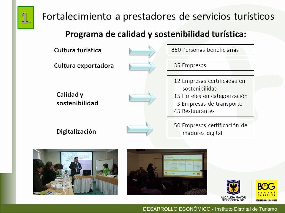 1.Fortalecimiento a prestadores de servicios turísticos.