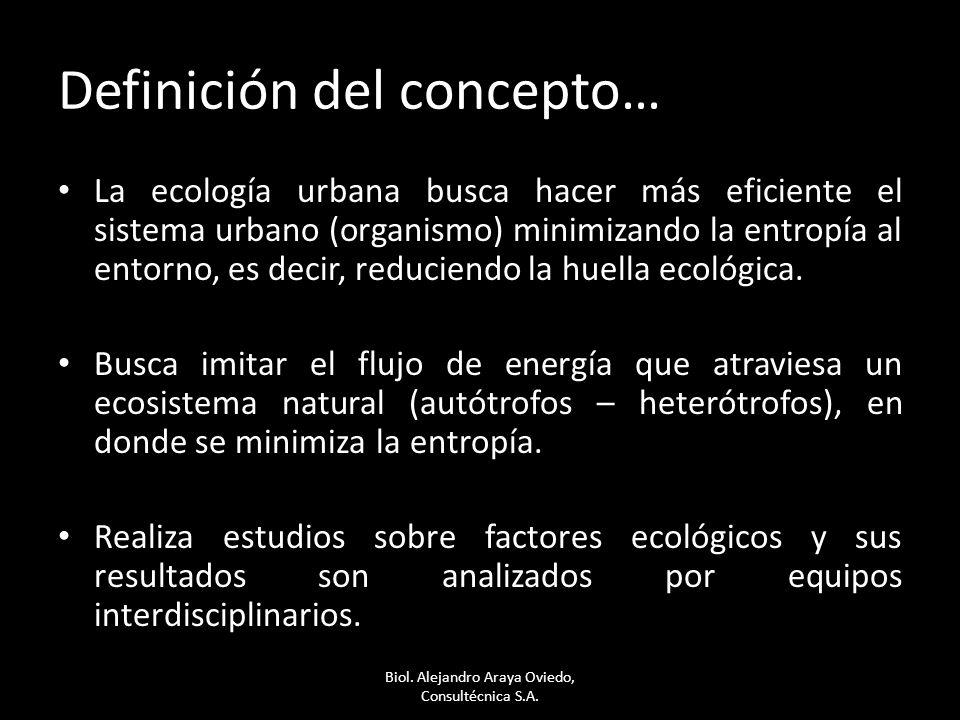 Definición del concepto… La ecología urbana busca hacer más eficiente el sistema urbano (organismo) minimizando la entropía al entorno, es decir, reduciendo la huella ecológica.