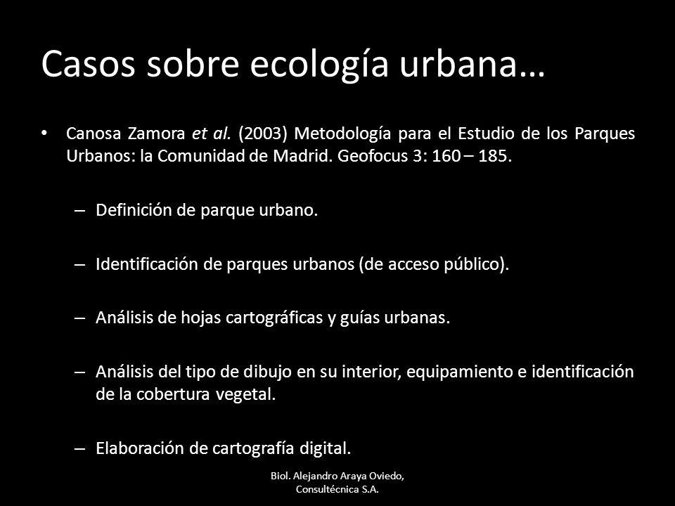 Casos sobre ecología urbana… Canosa Zamora et al. (2003) Metodología para el Estudio de los Parques Urbanos: la Comunidad de Madrid. Geofocus 3: 160 –