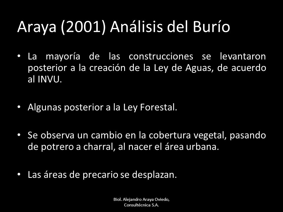 Araya (2001) Análisis del Burío La mayoría de las construcciones se levantaron posterior a la creación de la Ley de Aguas, de acuerdo al INVU. Algunas