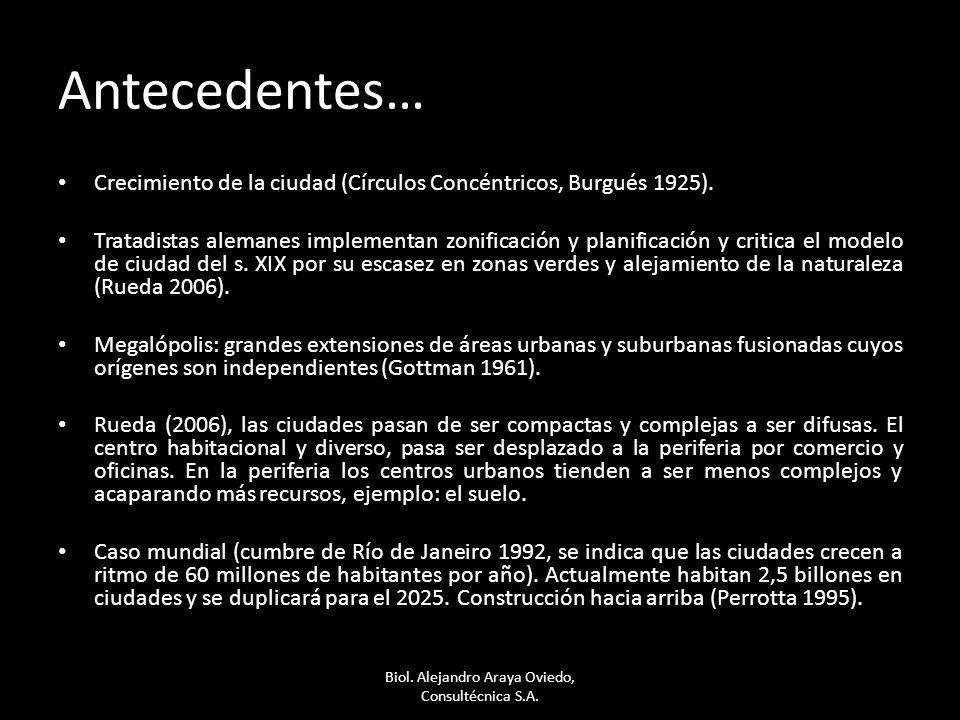 Antecedentes… Crecimiento de la ciudad (Círculos Concéntricos, Burgués 1925). Tratadistas alemanes implementan zonificación y planificación y critica
