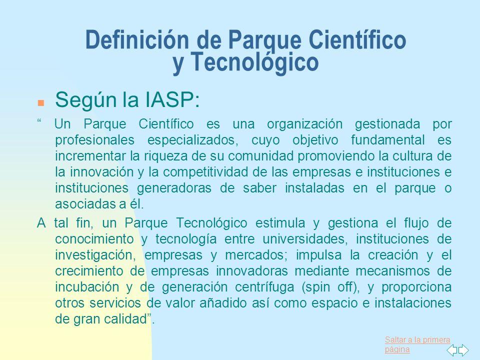 Saltar a la primera página Definición de Parque Científico y Tecnológico n Según la IASP: Un Parque Científico es una organización gestionada por prof