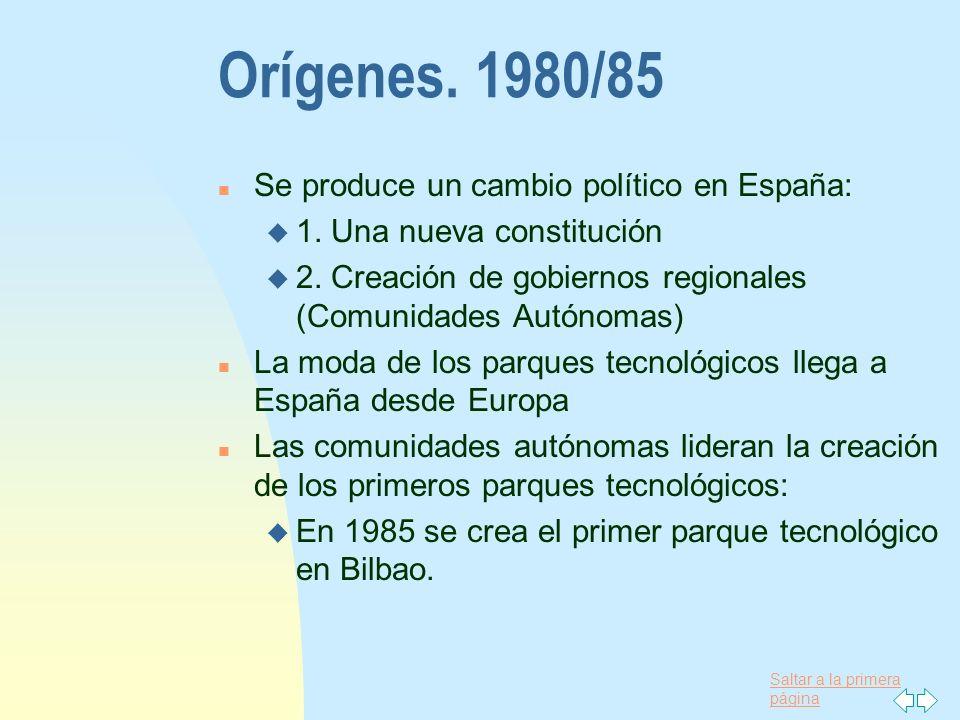 Saltar a la primera página Orígenes. 1980/85 n Se produce un cambio político en España: u 1. Una nueva constitución u 2. Creación de gobiernos regiona
