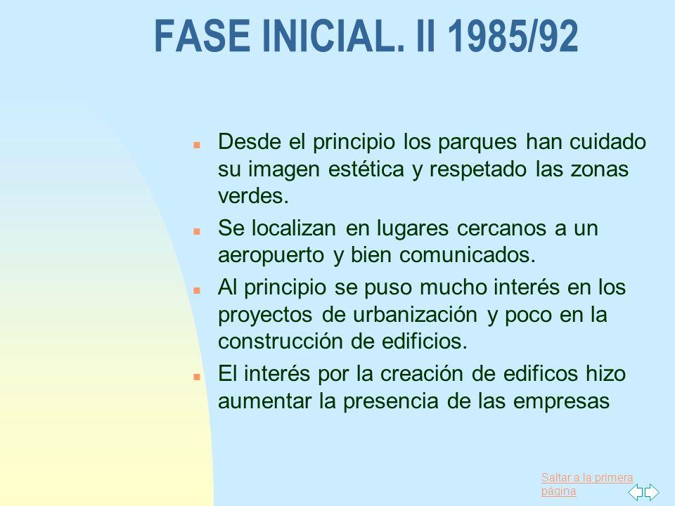 Saltar a la primera página FASE INICIAL. II 1985/92 n Desde el principio los parques han cuidado su imagen estética y respetado las zonas verdes. n Se
