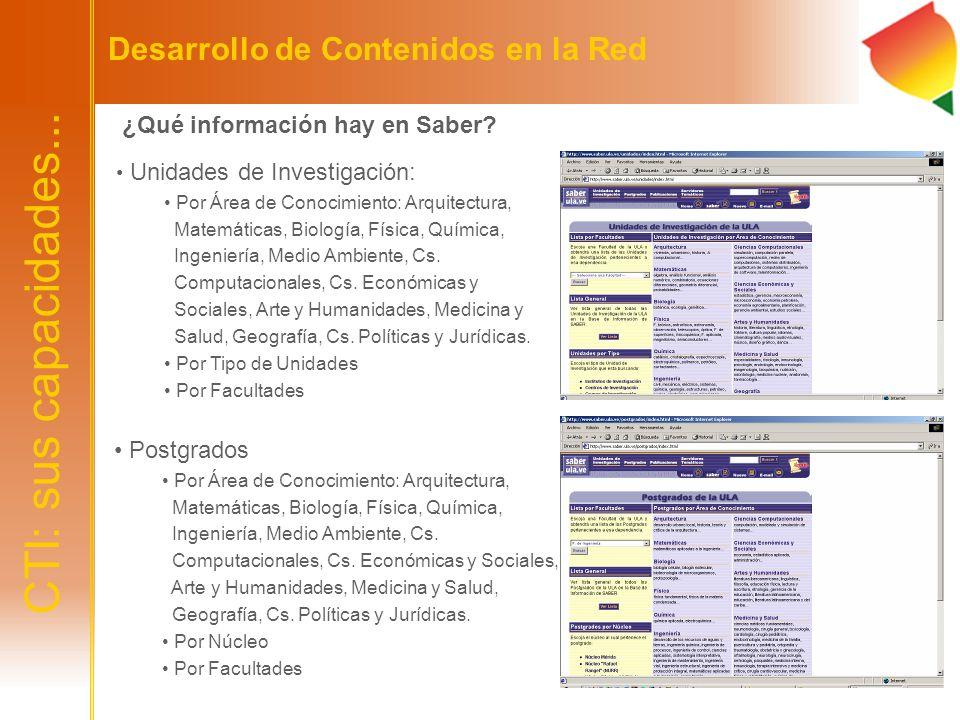 CTI: sus capacidades... Desarrollo de Contenidos en la Red ¿Qué información hay en Saber? Unidades de Investigación: Por Área de Conocimiento: Arquite