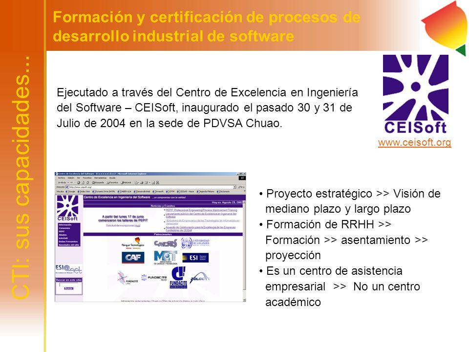 CTI: sus capacidades... Formación y certificación de procesos de desarrollo industrial de software Ejecutado a través del Centro de Excelencia en Inge