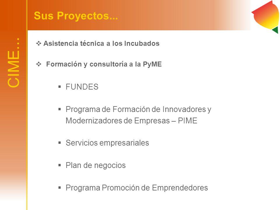 CIME... Sus Proyectos... Asistencia técnica a los Incubados Formación y consultoría a la PyME FUNDES Programa de Formación de Innovadores y Modernizad