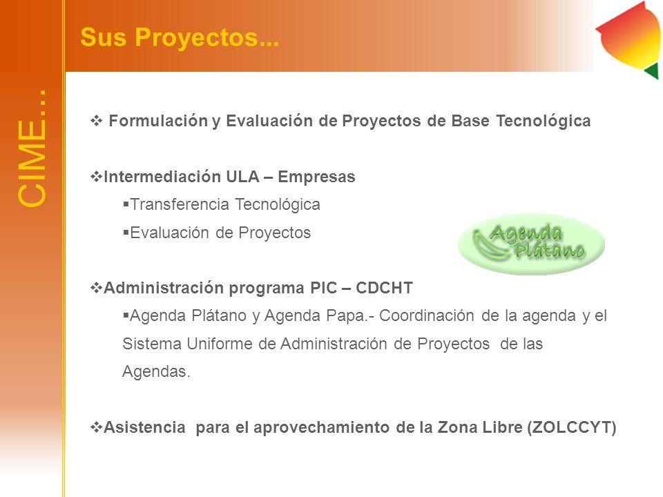 CIME... Sus Proyectos... Formulación y Evaluación de Proyectos de Base Tecnológica Intermediación ULA – Empresas Transferencia Tecnológica Evaluación