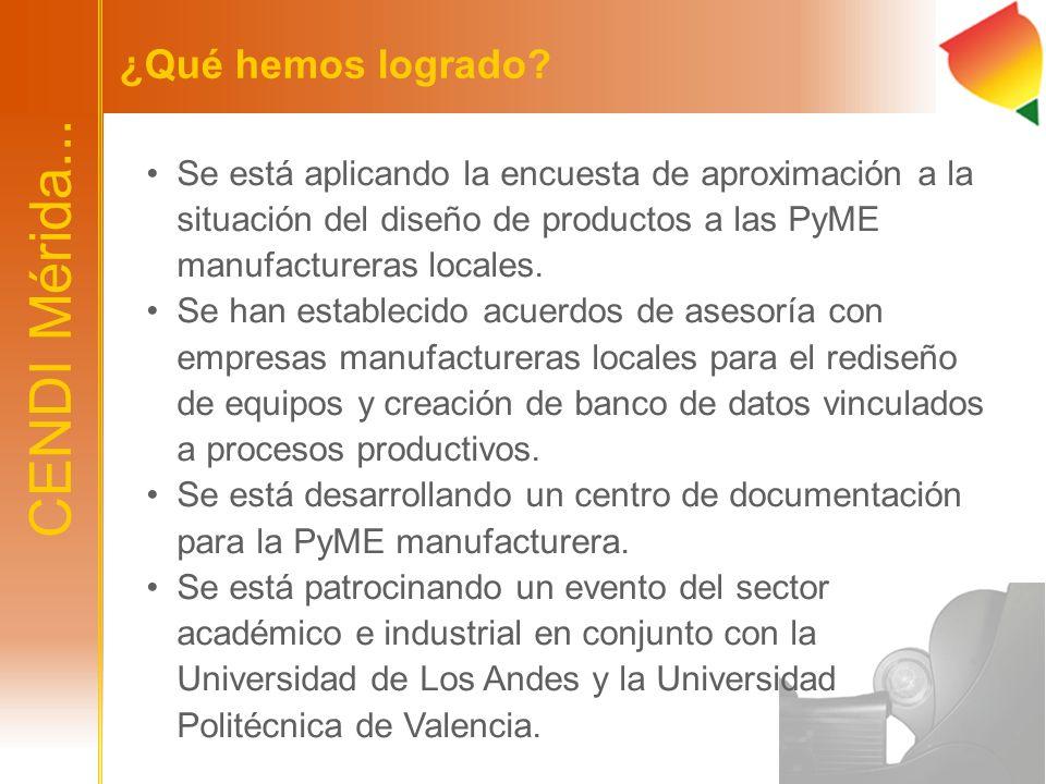 ¿Qué hemos logrado? Se está aplicando la encuesta de aproximación a la situación del diseño de productos a las PyME manufactureras locales. Se han est