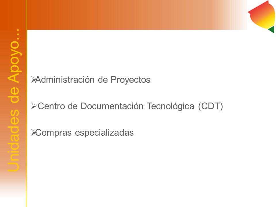Unidades de Apoyo... Administración de Proyectos Centro de Documentación Tecnológica (CDT) Compras especializadas