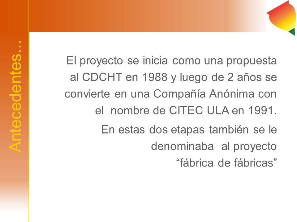 Antecedentes... El proyecto se inicia como una propuesta al CDCHT en 1988 y luego de 2 años se convierte en una Compañía Anónima con el nombre de CITE