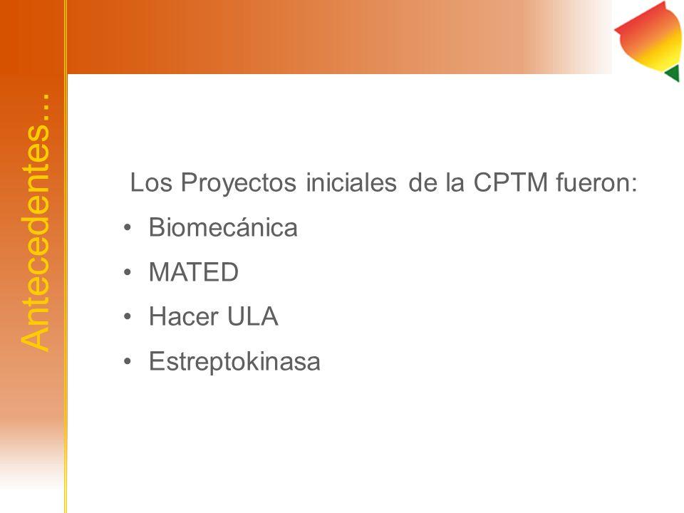 Antecedentes... Los Proyectos iniciales de la CPTM fueron: Biomecánica MATED Hacer ULA Estreptokinasa