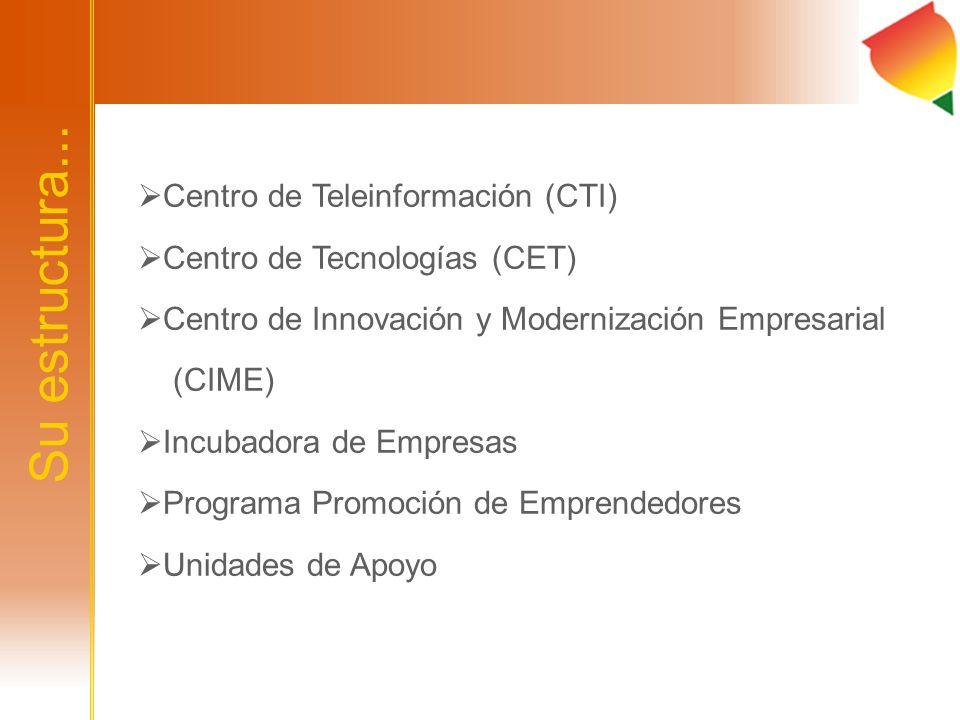 Su estructura... Centro de Teleinformación (CTI) Centro de Tecnologías (CET) Centro de Innovación y Modernización Empresarial (CIME) Incubadora de Emp