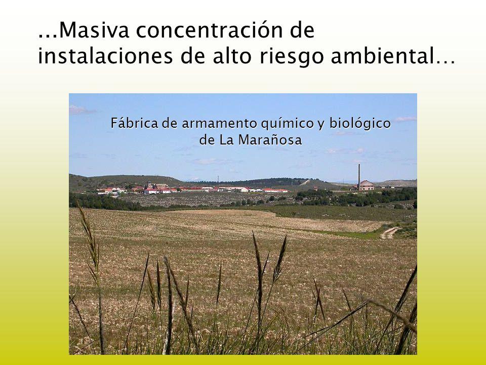 ...Masiva concentración de instalaciones de alto riesgo ambiental… Fábrica de armamento químico y biológico de La Marañosa