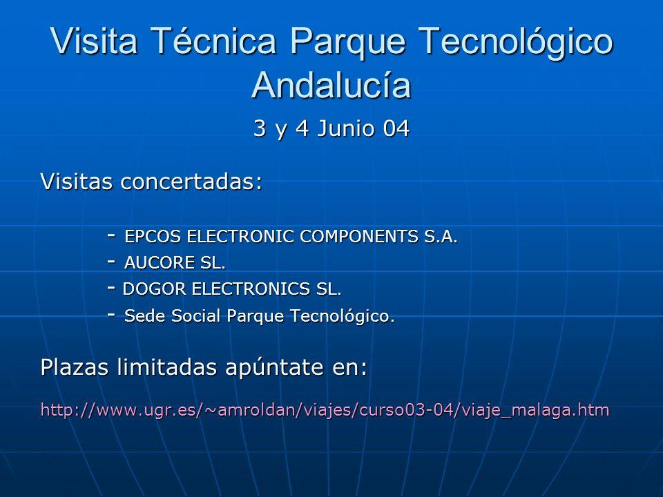 Visita Técnica Parque Tecnológico Andalucía 3 y 4 Junio 04 Visitas concertadas: - EPCOS ELECTRONIC COMPONENTS S.A.