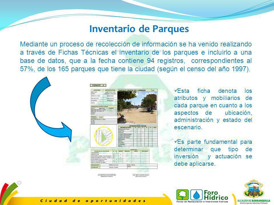 Mediante un proceso de recolección de información se ha venido realizando a través de Fichas Técnicas el inventario de los parques e incluirlo a una b