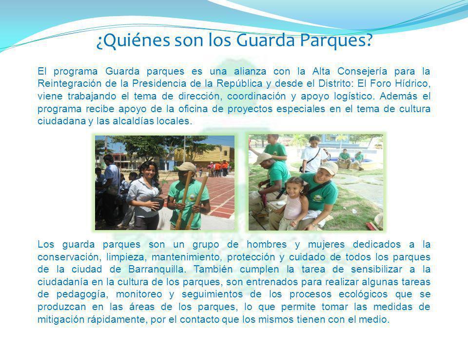 El programa Guarda parques es una alianza con la Alta Consejería para la Reintegración de la Presidencia de la República y desde el Distrito: El Foro