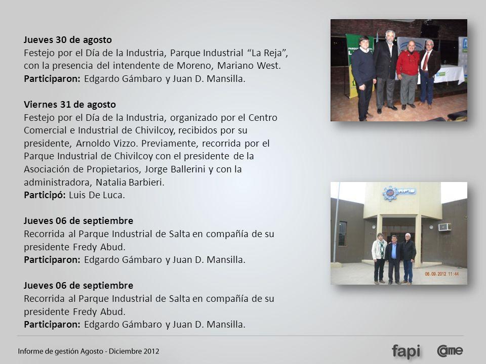 Jueves 30 de agosto Festejo por el Día de la Industria, Parque Industrial La Reja, con la presencia del intendente de Moreno, Mariano West. Participar