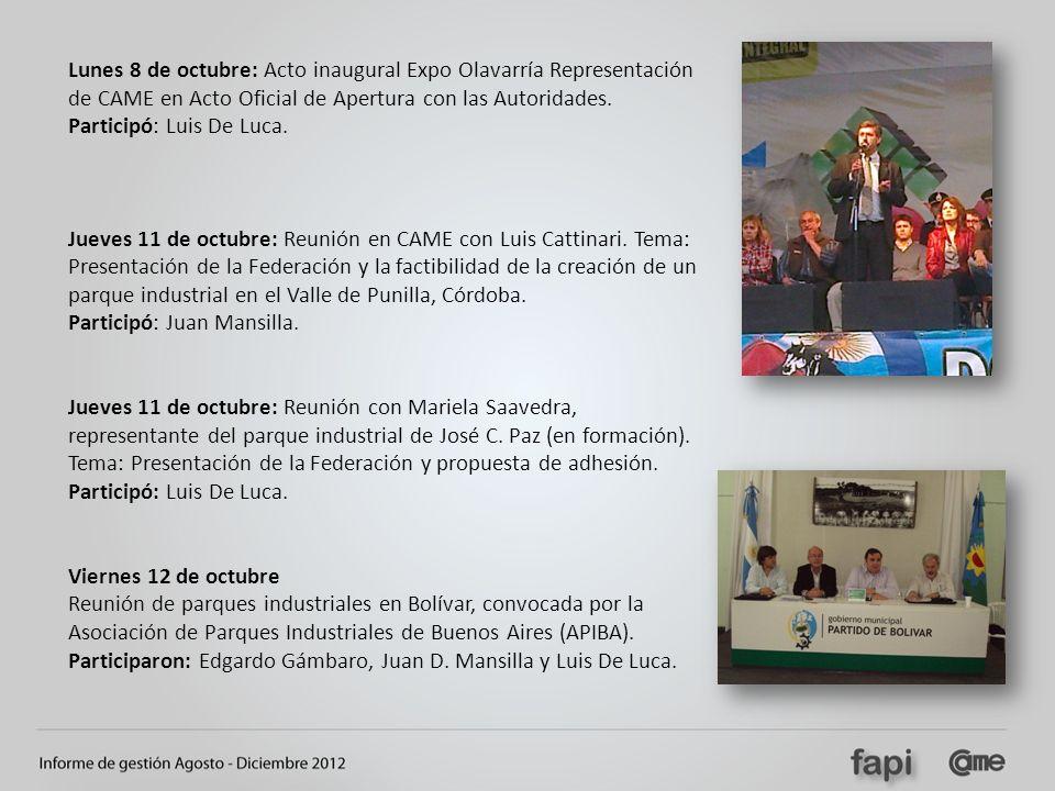Lunes 8 de octubre: Acto inaugural Expo Olavarría Representación de CAME en Acto Oficial de Apertura con las Autoridades. Participó: Luis De Luca. Jue