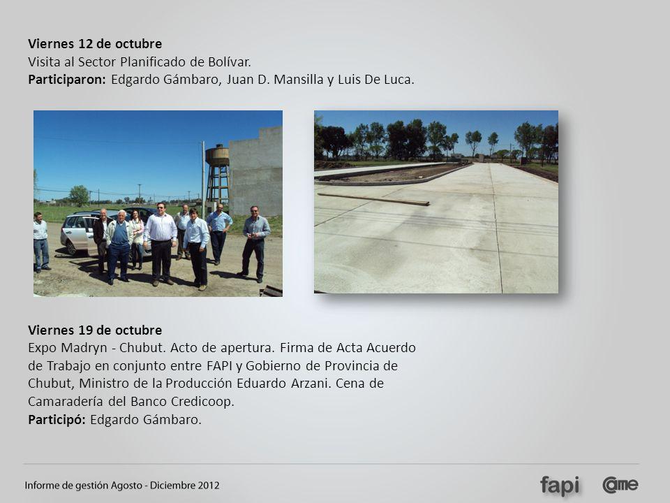 Viernes 12 de octubre Visita al Sector Planificado de Bolívar. Participaron: Edgardo Gámbaro, Juan D. Mansilla y Luis De Luca. Viernes 19 de octubre E