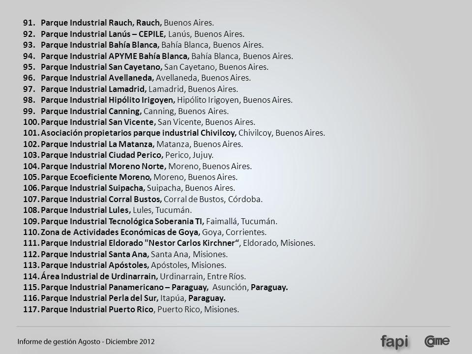91.Parque Industrial Rauch, Rauch, Buenos Aires. 92.Parque Industrial Lanús – CEPILE, Lanús, Buenos Aires. 93.Parque Industrial Bahía Blanca, Bahía Bl