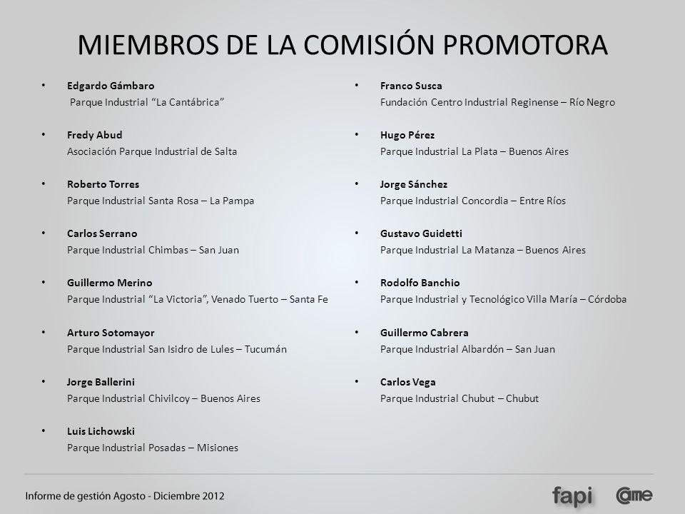 MIEMBROS DE LA COMISIÓN PROMOTORA Edgardo Gámbaro Parque Industrial La Cantábrica Fredy Abud Asociación Parque Industrial de Salta Roberto Torres Parq