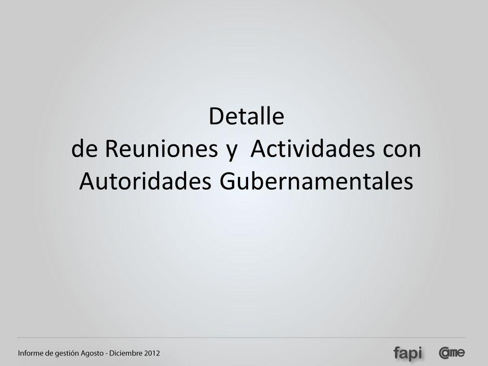 Detalle de Reuniones y Actividades con Autoridades Gubernamentales