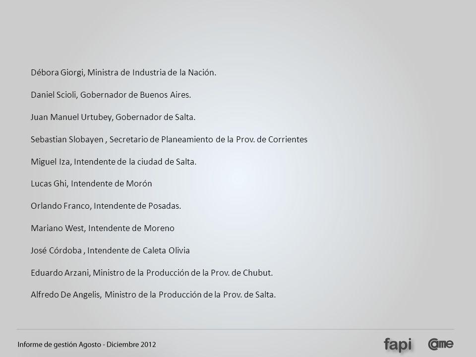 Débora Giorgi, Ministra de Industria de la Nación. Daniel Scioli, Gobernador de Buenos Aires. Juan Manuel Urtubey, Gobernador de Salta. Sebastian Slob