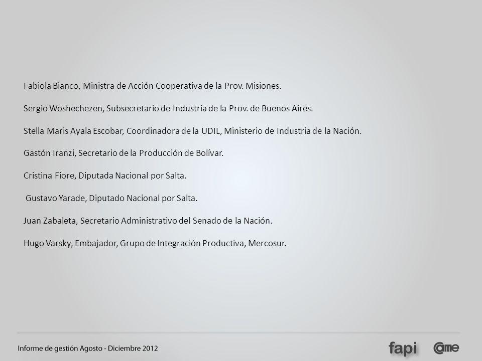 Fabiola Bianco, Ministra de Acción Cooperativa de la Prov. Misiones. Sergio Woshechezen, Subsecretario de Industria de la Prov. de Buenos Aires. Stell