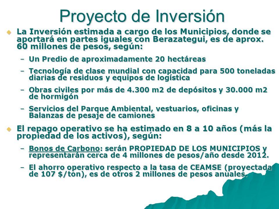 La Inversión estimada a cargo de los Municipios, donde se aportará en partes iguales con Berazategui, es de aprox. 60 millones de pesos, según: La Inv