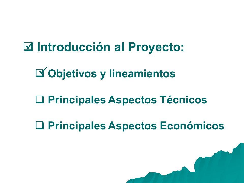 Introducción al Proyecto: Objetivos y lineamientos Principales Aspectos Técnicos Principales Aspectos Económicos