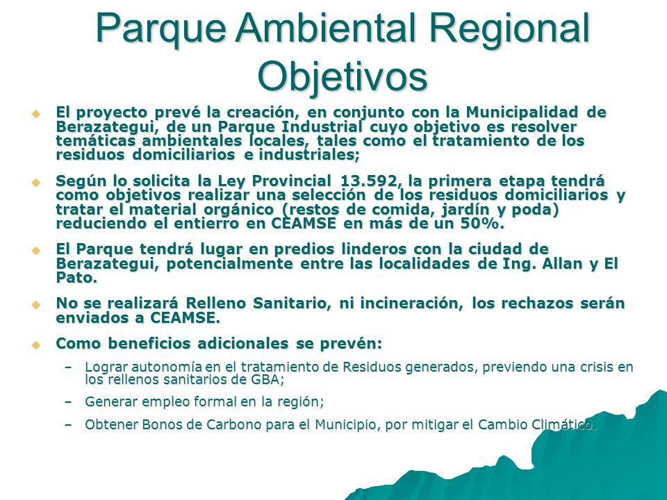 El proyecto prevé la creación, en conjunto con la Municipalidad de Berazategui, de un Parque Industrial cuyo objetivo es resolver temáticas ambientale