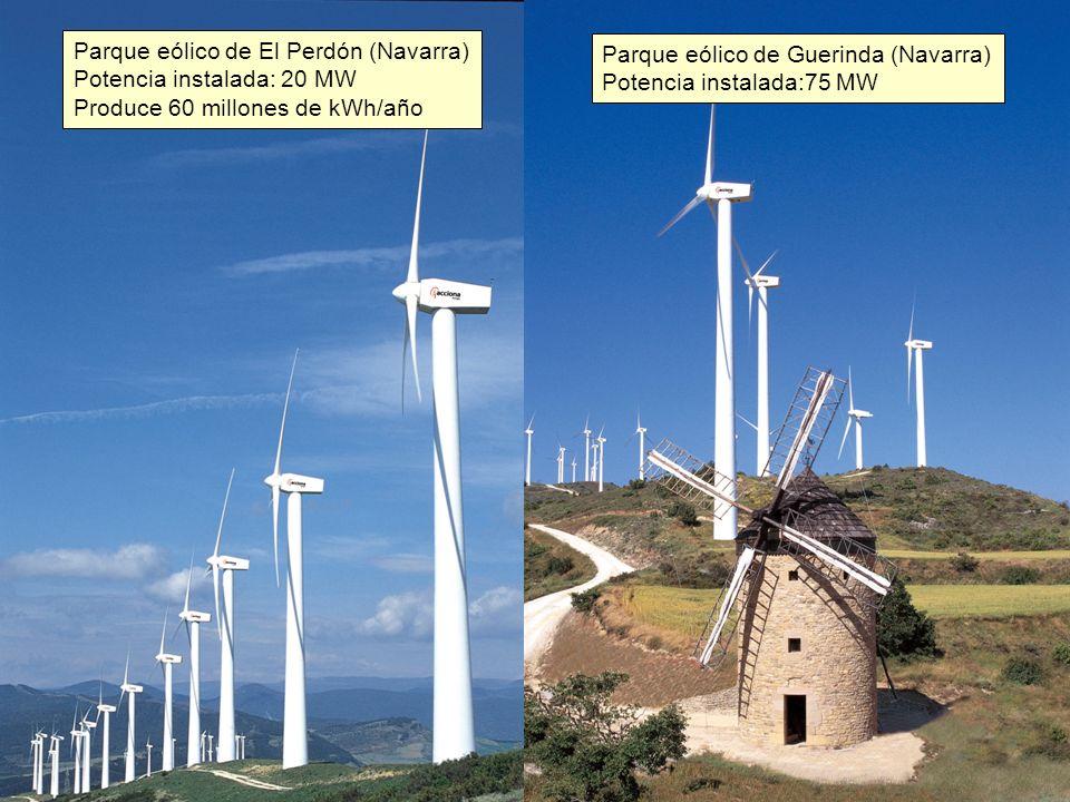 Parque eólico de El Perdón (Navarra) Potencia instalada: 20 MW Produce 60 millones de kWh/año Parque eólico de Guerinda (Navarra) Potencia instalada:75 MW