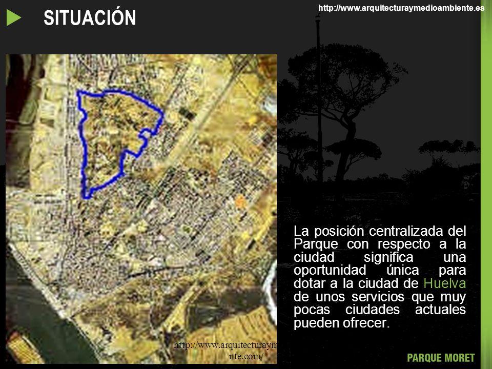 El llamado Pulmón Verde de Huelva, que comprende el Parque Moret, los Cabezos del Conquero y la zona de Huertos, tiene una superficie global de 73 hectáreas.