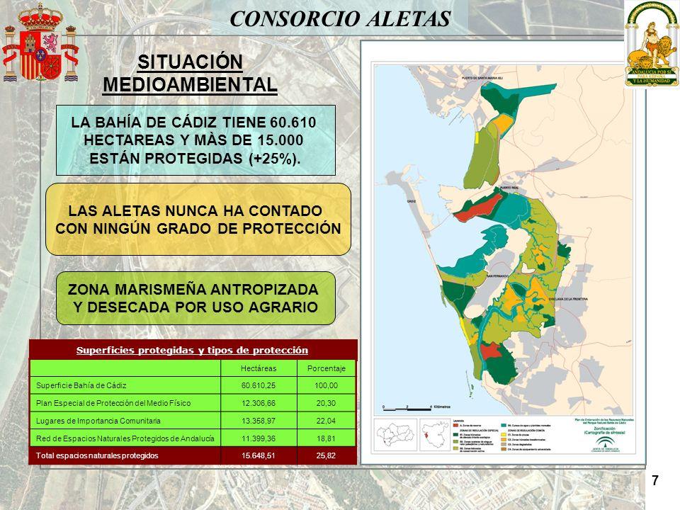CONSORCIO ALETAS SITUACIÓN MEDIOAMBIENTAL Superficies protegidas y tipos de protección HectáreasPorcentaje Superficie Bahía de Cádiz60.610,25100,00 Pl