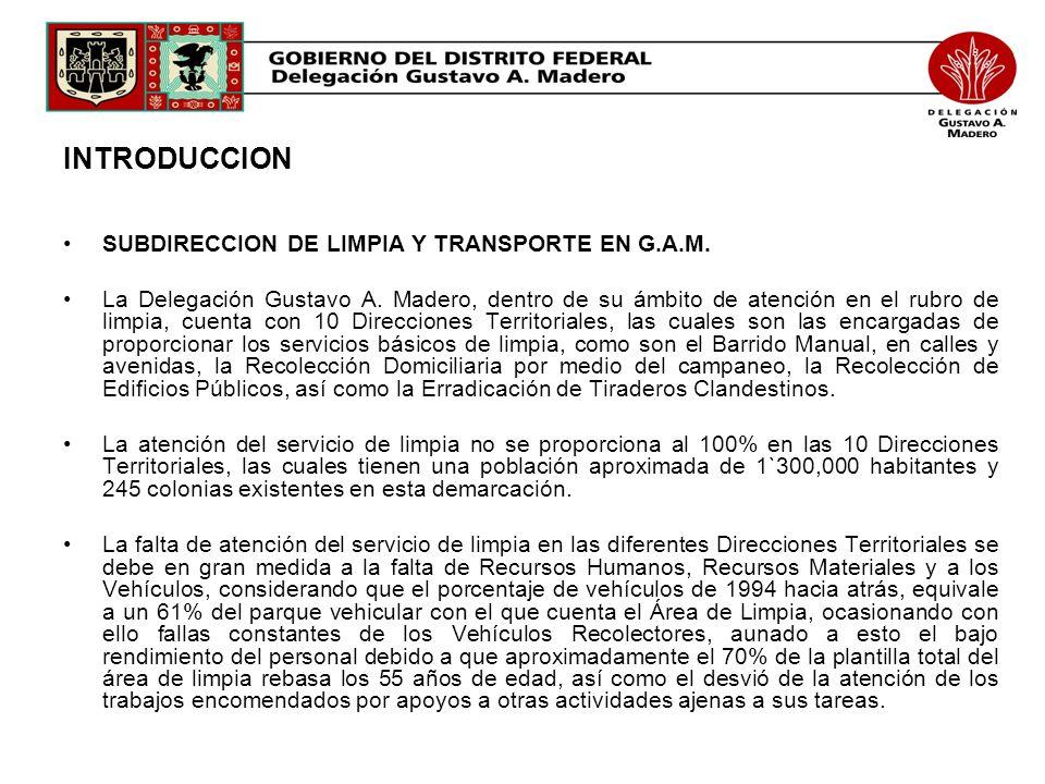 INTRODUCCION SUBDIRECCION DE LIMPIA Y TRANSPORTE EN G.A.M. La Delegación Gustavo A. Madero, dentro de su ámbito de atención en el rubro de limpia, cue
